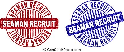 Grunge SEAMAN RECRUIT Scratched Round Watermarks