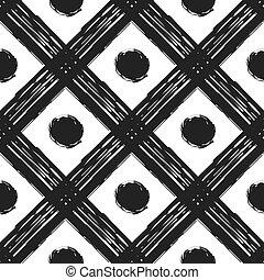 Grunge seamless pattern of black white diagonal stripes and circle