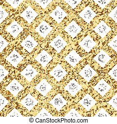Grunge seamless pattern of gold silver diagonal stripes and circle