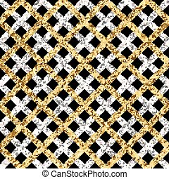 Grunge seamless pattern of gold silver diagonal stripes or lines