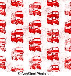Grunge Seamless Red London Bus Pattern