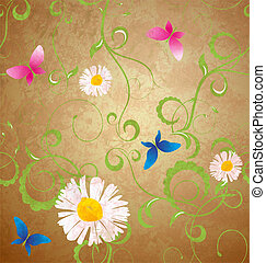 grunge, seamless, vlinders, retro, hintergrund, gänseblümchen