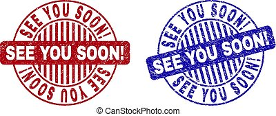 Grunge SEE YOU SOON! Scratched Round Stamps - Grunge SEE YOU...