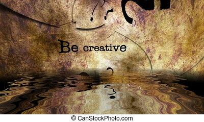 grunge, sein, zurückwerfend, kreativ, text, wasser