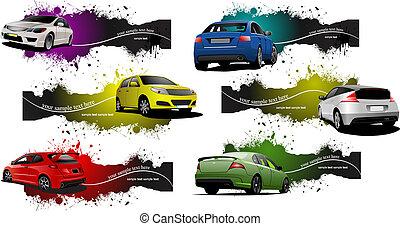 grunge, seis, cars., ilustración, vector, banderas