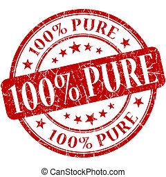 grunge, selo, 100%, puro, redondo, vermelho