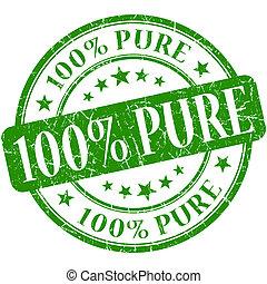 grunge, selo, 100%, verde, puro, redondo