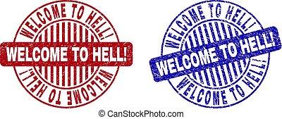 grunge, selo, bem-vindo, selos, hell!, textured, redondo