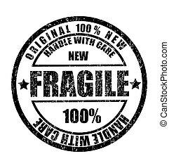 grunge, selo borracha, com, a, texto, frágil