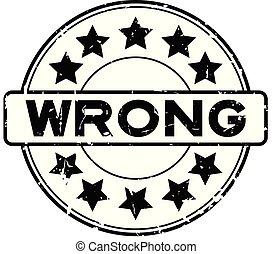 grunge, selo, borracha, errado, experiência preta, selo, estrela, branca, redondo, ícone