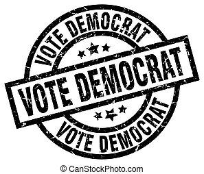 grunge, selo, democrata, pretas, voto, redondo