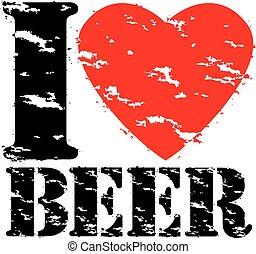 grunge, selo, ilustração, borracha, cerveja, vetorial, amor