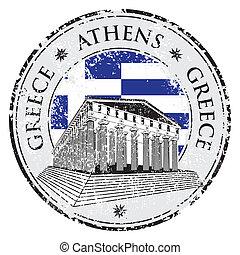 grunge, selo, nome, forma, azul, dentro, grécia, parthenon, ...