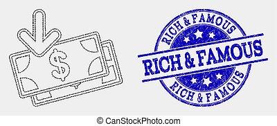 grunge, &, selo, notas, famosos, vetorial, pixelated, ricos, renda, ícone