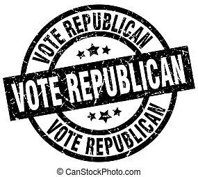 grunge, selo, pretas, voto, republicano, redondo