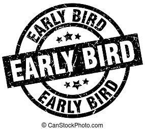 grunge, selo, redondo, cedo, pássaro preto
