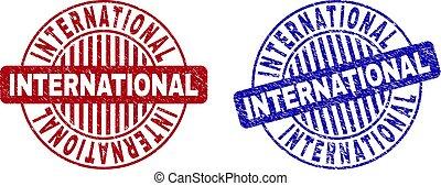 grunge, selo, selos, textured, internacional, redondo