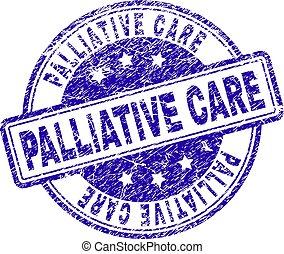 grunge, selo, textured, selo, cuidado, palliative