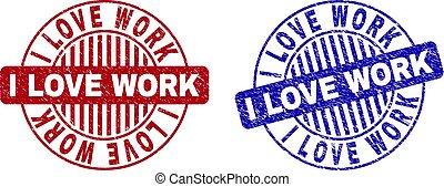 grunge, selo, trabalho, selos, textured, amor, redondo