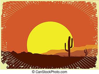 grunge, selvagem, fundo, sol, deserto, sunset., paisagem, ...