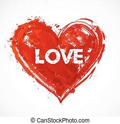 grunge, serce, czerwony