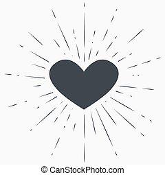 grunge, serce, sunburst, symbol, tło