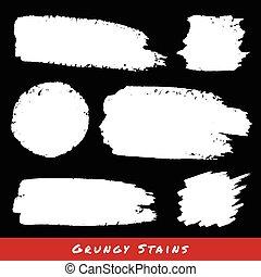 grunge, set, backgrounds., hand, getrokken, witte