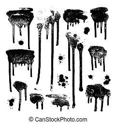 grunge, set., elemento, drops., paint., inchiostro, disegno