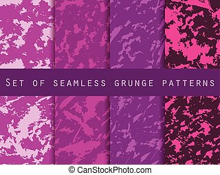 Grunge set of seamless pattern with clots and strokes....