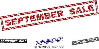 grunge, setembro, venda, selos, textured, retângulo