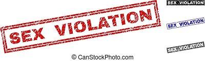 Grunge SEX VIOLATION Textured Rectangle Stamp Seals