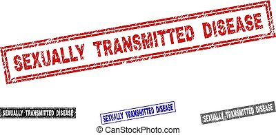 Grunge SEXUALLY TRANSMITTED DISEASE Textured Rectangle Stamp Seals
