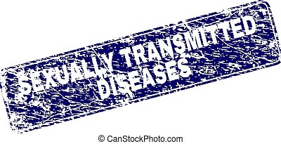 Grunge SEXUALLY TRANSMITTED DISEASES Framed Rounded Rectangle Stamp