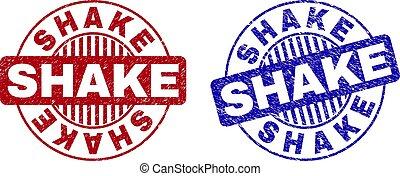 Grunge SHAKE Scratched Round Stamp Seals