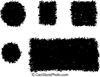 grunge shape square and round black silhouette on white