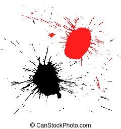 Grunge shapes isolated on white background.