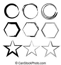 Grunge shapes. Star, circle, hexagon. Set of Hand Drawn , vector design elements