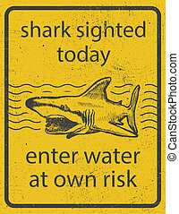 Grunge shark attack warning sign vector eps8 - Grunge shark ...