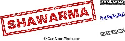 Grunge SHAWARMA Scratched Rectangle Watermarks