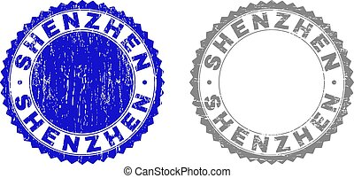 Grunge SHENZHEN Textured Stamps