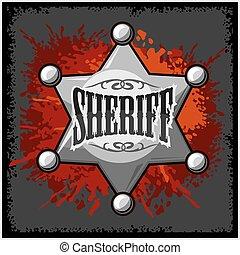 grunge, sheriff, illustratie, vector, achtergrond, het kenteken van de ster, zilver