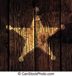 Grunge sheriff star on wooden texture.