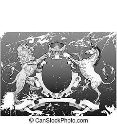 grunge shield coat of arms lion, unicorn, crown