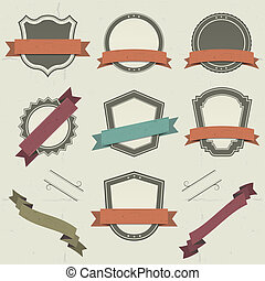 Illustration of a collection of vintage shields and other badges with banners, labels, ribbons for holidays and celebrations