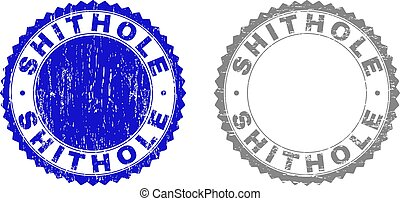 Grunge SHITHOLE stamp seals isolated on a white background. Rosette seals with grunge texture in blue and gray colors. Vector rubber stamp imitation of SHITHOLE tag inside round rosette.
