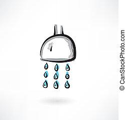 grunge, showerhead, icône