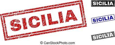 Grunge SICILIA Scratched Rectangle Watermarks - Grunge...