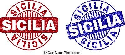 Grunge SICILIA Scratched Round Watermarks - Grunge SICILIA...