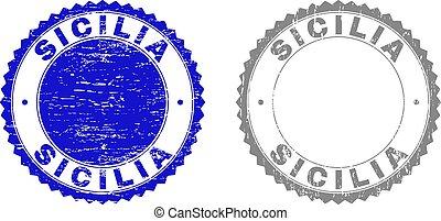 Grunge SICILIA Textured Watermarks - Grunge SICILIA stamp...