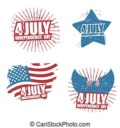 Grunge sign for Independence Day in America. Star and paint splatter. Eagle with wings. Statue of Liberty and paint strokes. Set of posters for public holiday in United States. Patriot logo to celebrate 4th July